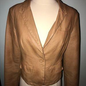 Camel brown faux leather jacket M blazer